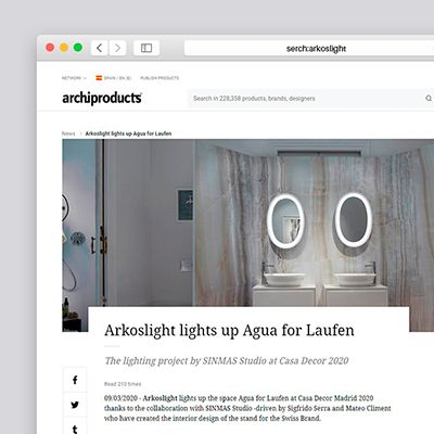 "'Arkoslight and SINMAS light up the space Agua for Laufen' dans ""Archiproducts"""